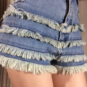 NASTYGAL Denim Fringe Shorts!
